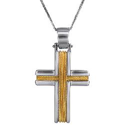 Βαπτιστικοί Σταυροί με Αλυσίδα Δίχρωμος σταυρός συρματερός 14Κ C007258  007258C Ανδρικό Χρυσός 14 Καράτια 13639 385.00 €  57159657f6f