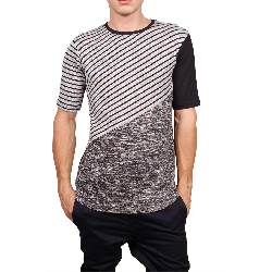 161eb5b2e1cb 3PLAY longline t-shirt με ριγέ πάνελ - 3pl-a631 11245 12.33 ...